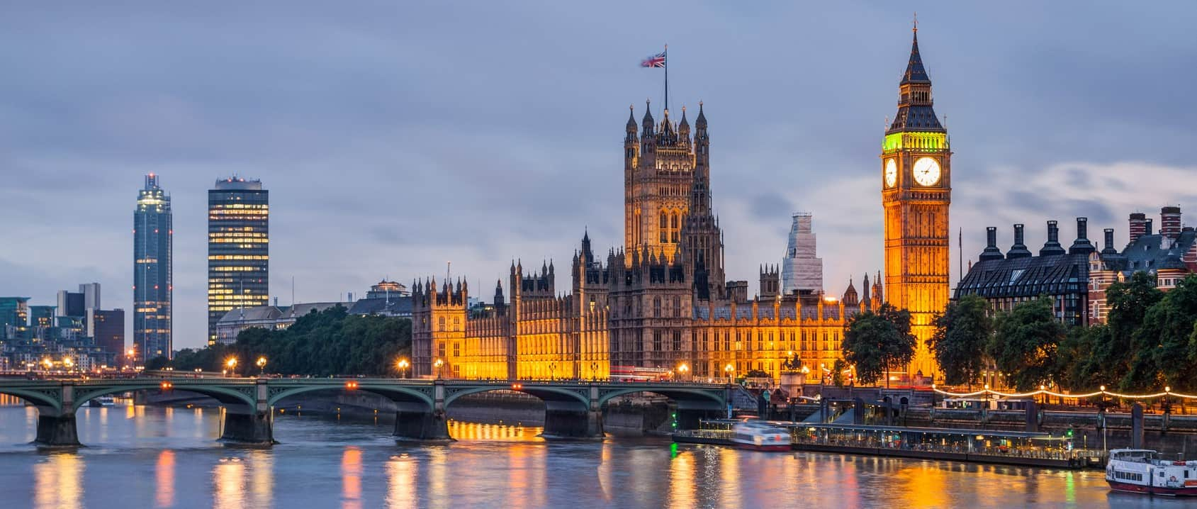 Big Ben and Westminster Bridge at dusk, London, UK